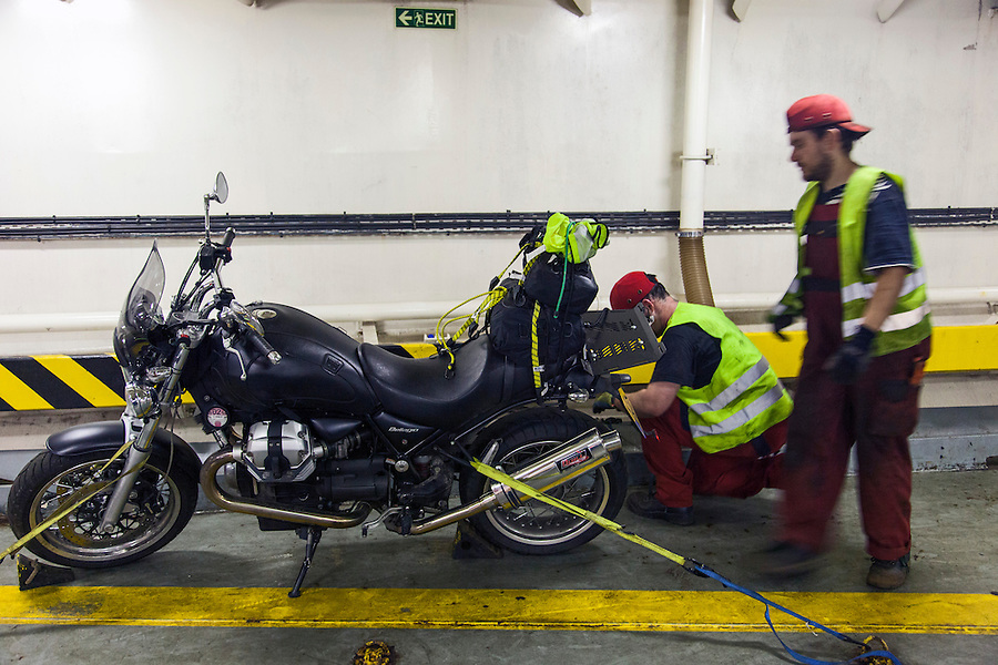 Kiel, Germany, 17/07/2013.<br /> Moto Guzzi Bellagio boarding Kiel to Klaipeda ferry.