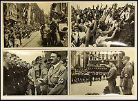 BNPS.co.uk (01202 558833)<br /> Pic: ChalkwellAuctions/BNPS<br /> <br /> The carefully orchestrated pictures show the Fuhrer as a popular man of the people and show the pre-war popularity of the Nazi party.<br /> <br /> Found in a cardboard box...a meticulous account ofthe pre war rise of the cult of Hitler.<br /> <br /> An incredible picture archive that charts the rise of Hitler believed to have been meticulously documented by a fan of the Fuhrer has emerged for sale.<br /> <br /> The collection of propaganda photographs show Adolf Hitler on a charm offensive in the 1920s and 30s - before the evil dictator started the Second World War and eliminated at least five million Jews in the Holocaust.<br /> <br /> Some of the images try to show a softer side to the Nazi leader, with him feeding a small deer and accepting a bouquet from a young girl.<br /> <br /> Others chillingly show the hype created around him - rows of people performing the straight-arm Nazi salute, a young boy beaming as Hitler signs an autograph for him and a group of girls giggling as they chat to the party leader.