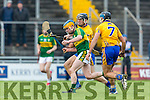 Kerry's Paugie O'Connor and Clare's Shane Golden and Brendan Bugler at the Munster Hurling League match Kerry v Clare in Austin Stack Park on Sunday