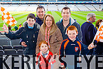 Conor Gallagher, Keith Moressey, Amy O'Sullivan, Geraldine O'Sullivan, Eoin O'Sullivan and Shane O'Sullivan Brosna supporters at the Junior Football All Ireland Club Final in Croke Park on Saturday.