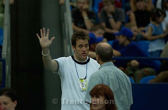 Keith Johnson speaks with his reporter, Alan Edwards, Moscow-Utah Youth Games<br />