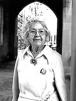 Florence Luscomb, Suffragist, Union Organizer and Abortion Rights Advocate demonstrates in support of clerical workers at Boston University 1977