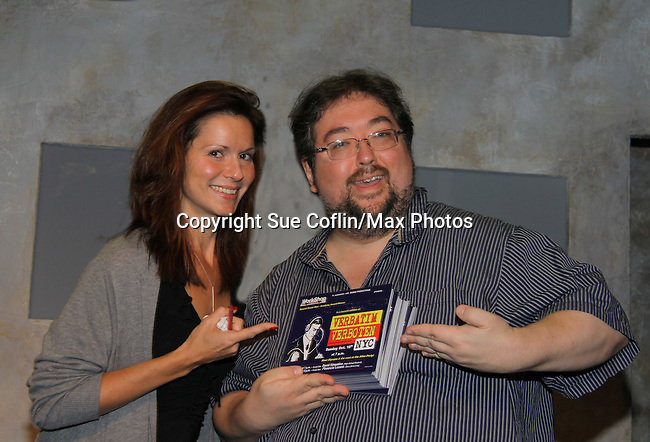 "One Life To Live's Florencia Lozano ""Tea Delgado"" stars with Scott Sickles (writer OLTL and Artistic Director WorkShop Theatre Co.) in ""Verbatim Verboten - NYC"" on October 18, 2010 at the WorkShop Theater, NYC. (Photo by Sue Coflin/Max Photos)"