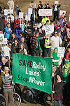 Around 600 people turned up to march  today around Thrupp lake (lake E) at the Radley Lakes   in protest at the  proposed dumping of 500,000 tons of  waste ash from Didcot power station into the wildlife lake. <br />