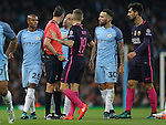 Pablo Zabaleta of Manchester City disagrees with the referee during the Champions League Group C match at the Etihad Stadium, Manchester. Picture date: November 1st, 2016. Pic Simon Bellis/Sportimage