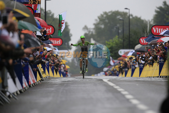 Lars Boom (NED) Belkin crosses the finish line in Arenberg to win at the end of Stage 5 of the 2014 Tour de France running 155.5km from Ypres to Arenberg. 9th July 2014.<br /> Picture: Eoin Clarke www.newsfile.ie