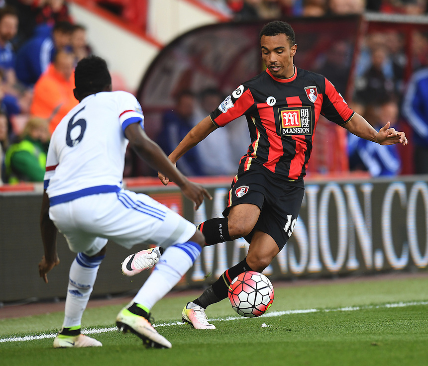 Bournemouth's Junior Stanislas (R) in action during todays match  <br /> <br /> Bournemouth 1 - 4 Chelsea 4<br /> <br /> Photographer David Horton/CameraSport<br /> <br /> Football - Barclays Premiership - Bournemouth v Chelsea - Saturday 23rd April 2016 - Vitality Stadium - Bournemouth<br /> <br /> &copy; CameraSport - 43 Linden Ave. Countesthorpe. Leicester. England. LE8 5PG - Tel: +44 (0) 116 277 4147 - admin@camerasport.com - www.camerasport.com