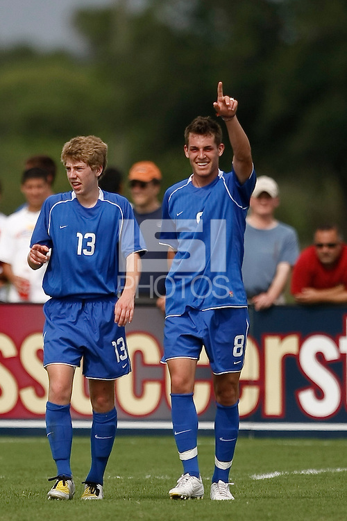 Zack Foxhoven (8) celebrates scoring a goal. The US U-17 Men's National Team defeated the Development Academy Select Team 5-3 during day two of the US Soccer Development Academy  Spring Showcase in Sarasota, FL, on May 23, 2009.
