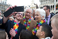 King Albert II and Queen Paola of Belgium on the Grand Place in Brussels - Belgium