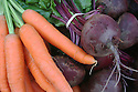 Bunches of carrots and beets