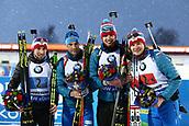 16th March 2019, Ostersund, Sweden; IBU World Championships Biathlon, day 8, mens relay; Alexander Loginov, Dmitry Malyshko, NIkita Porshnev and Matvey Eliseev of Russia