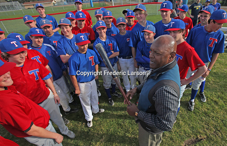 Vida Blue talks to the Tamalpais Hawk baseball team in Mill Valley.  Vida is a former Major League Baseball left-handed pitcher. During a 17-year career, he pitched for the Oakland Athletics (1969–77), San Francisco Giants (1978–81; 1985–86), and Kansas City Royals (1982–83) He won the American League Cy Young award and Most Valuable Player Award in 1971. He is a six-time all-star, and is one of only four pitchers in major league history to start the all-star game for both the American League (1971) and the National League (1978); Roger Clemens, Randy Johnson and Roy Halladay would later duplicate the feat.
