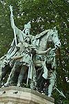 Statue of King Charlemagne standing outside Notre Dame de Paris, Paris, France.