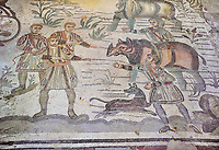 Ambulatory of the Great Hunt Roman mosaic, rhino being loaded onto a ship, room no 28, at the Villa Romana del Casale, first quarter of the 4th century AD. Sicily, Italy. A UNESCO World Heritage Site.<br /> <br /> The Great Hunt ambulatory is around 60 meters long (200 Roman feet) and connects the master's northern apartments with the triclinium in the south. The door in the centre of the the Great Hunt ambulatory leads to audience hall. <br /> <br /> The Great Hunt Roman mosaic depicts African animals being hunted and put onto ships to be taken to the Colosseum.
