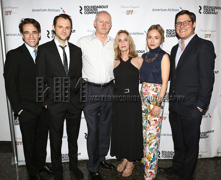 (L-R) Steven Levenson, Christopher Denham, David Morse, Lisa Emery, Sarah Goldberg and Rich Sommer attend 'The Unavoidable Disappearance Of Tom Durnin' Opening Night After Party at Laura Pels Theatre on June 27, 2013 in New York City.