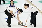 (L to R) Chikaki Matsumura Miyo Ichikawa (Chuden), SEPTEMBER 16, 2013 - Curling : Olympic qualifying Japan Curling Championships Women's Final third Mach between Fortius 11-6 Chuden at Dogin Curling Studium, Sapporo, Hokkaido, Japan. (Photo by Yusuke Nakanishi/AFLO SPORT)