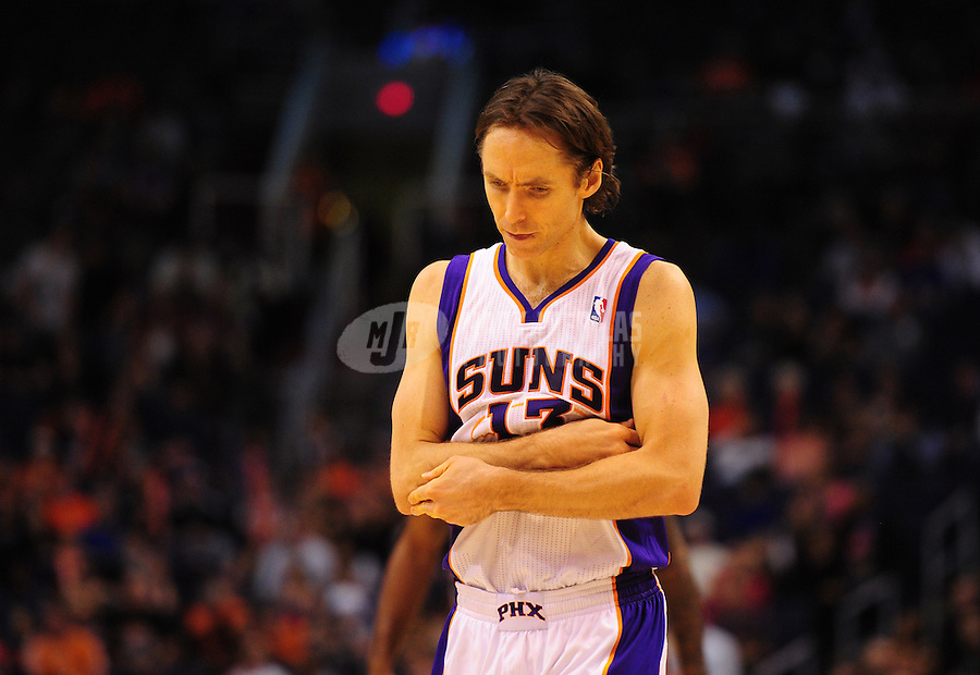Jan. 28, 2012; Phoenix, AZ, USA; Phoenix Suns guard Steve Nash reacts in the second half against the Memphis Grizzlies at the US Airways Center. The Suns defeated the Grizzlies 86-84. Mandatory Credit: Mark J. Rebilas-