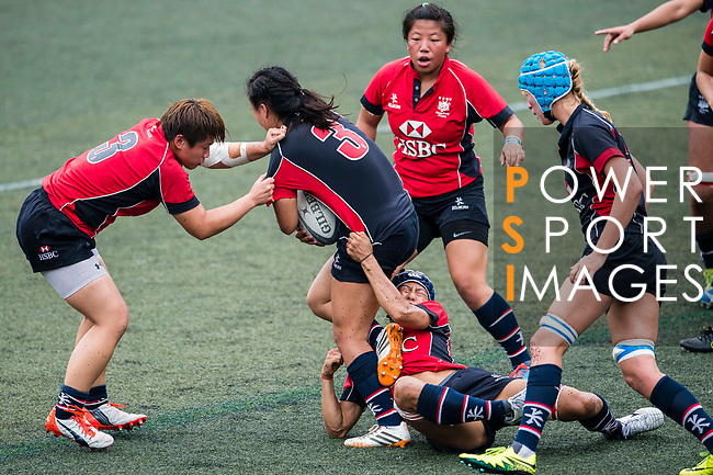 Pun Wai Yan of Dragons (C) in action during the Women's National Super Series 2017 on 13 May 2017, in Hong Kong Football Club, Hong Kong, China. Photo by Marcio Rodrigo Machado / Power Sport Images