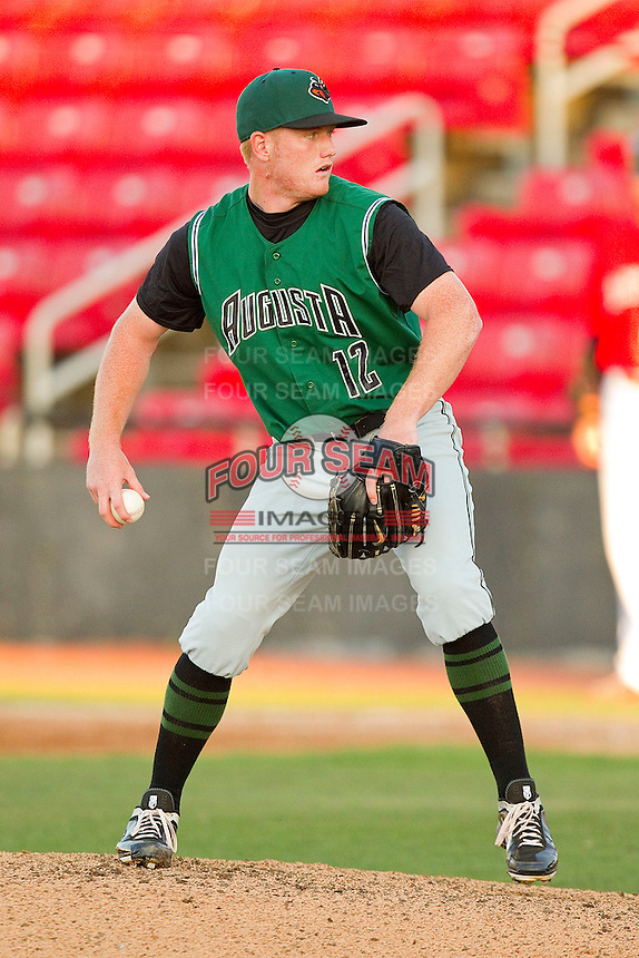 Starting pitcher Shawn Sanford #12 of the Augusta GreenJackets in action against the Hickory Crawdads at L.P. Frans Stadium on April 29, 2011 in Hickory, North Carolina.   Photo by Brian Westerholt / Four Seam Images