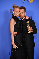 Sam Rockwell &amp; Leslie Bibb at the 75th Annual Golden Globe Awards at the Beverly Hilton Hotel, Beverly Hills, USA 07 Jan. 2018<br /> Picture: Paul Smith/Featureflash/SilverHub 0208 004 5359 sales@silverhubmedia.com