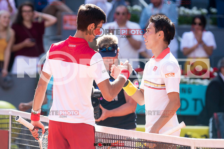 Serbian Novak Djokovic and Japanese Kei Nishikori during Mutua Madrid Open 2018 at Caja Magica in Madrid, Spain. May 07, 2018. (ALTERPHOTOS/Borja B.Hojas) /NortePhoto.com