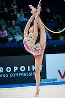 February 26, 2016 - Espoo, Finland - DINA AVERINA of Russia holds 6th in All Around qualifying after 2-apparatus at Espoo World Cup 2016.