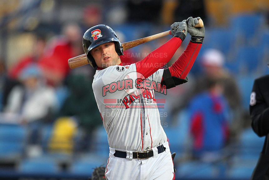 Portland Seadogs outfielder Bryce Brentz #25 during a game against the Reading Phillies at FirstEnergy Stadium on April 7, 2012 in Reading, Pennsylvania.  Reading defeated Portland 4-1.  (Mike Janes/Four Seam Images)