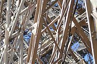 Steel construction detail of Eiffel Tower in Paris