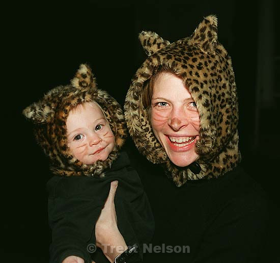 Nathaniel Nelson and Laura Nelson as a cat from Halloween.<br />