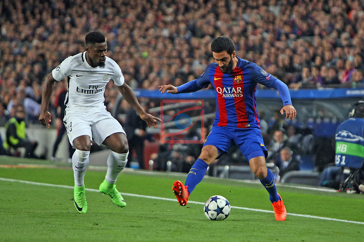 UEFA Champions League 2016/2017.<br /> Round of 16 2nd leg<br /> FC Barcelona vs Paris Saint-Germain: 6-1.<br /> Serge Aurier vs Arda Turan.