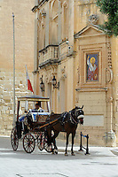 Pferdekutsche in Mdina, Malta, Europa