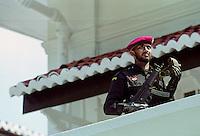 Military security commando guards government building in Colombo, Sri Lanka