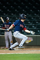 Ryan Scott (36) of the Salem Red Sox follows through on his swing against the Winston-Salem Dash at BB&T Ballpark on April 20, 2018 in Winston-Salem, North Carolina.  The Red Sox defeated the Dash 10-3.  (Brian Westerholt/Four Seam Images)