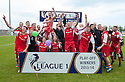 Stirling Albion players celebrate winning the League 1 Play Off Final to win promotion to League 1.