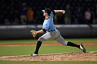 Relief pitcher Josh Advocate (11) of the Hickory Crawdads delivers a pitch during a game against the Greenville Drive on Monday, July 23, 2018, at Fluor Field at the West End in Greenville, South Carolina. Hickory won, 6-1. (Tom Priddy/Four Seam Images)