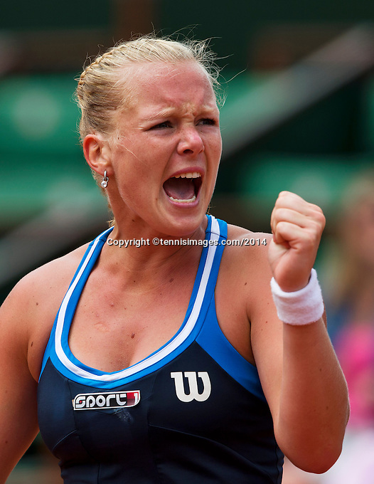 France, Paris, 02.06.2014. Tennis, French Open, Roland Garros, Kiki Bertens (NED)  pumps herself up<br /> Photo:Tennisimages/Henk Koster