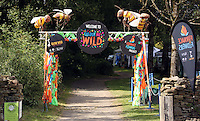 Pictured: The Welcome to Colour Me Wild entrance Saturday 13 August 2016<br />Re: Grow Wild event at  Furnace to Flowers site in Ebbw Vale, Wales, UK