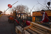 The gate to the airport of Kramatorsk blocked by pro-russian activists