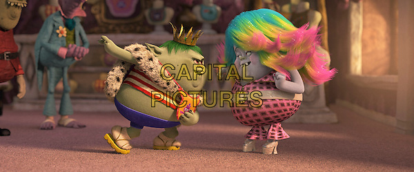 Trolls (2016)<br /> From left: Young Bergen King Gristle (voiced by Christopher Mintz-Plasse) is smitten by by the newly made over Bergen scullery maid Bridget (voiced by Zooey Deschanel)<br /> *Filmstill - Editorial Use Only*<br /> CAP/KFS<br /> Image supplied by Capital Pictures