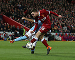 Andrew Robertson of Liverpool has a shot blocked by Fernandinho of Manchester City during the Champions League Quarter Final 1st Leg, match at Anfield Stadium, Liverpool. Picture date: 4th April 2018. Picture credit should read: Simon Bellis/Sportimage