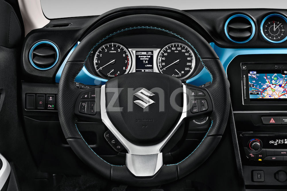 Car pictures of steering wheel view of a 2015 Suzuki Vitara Lux Extra 5 Door SUV