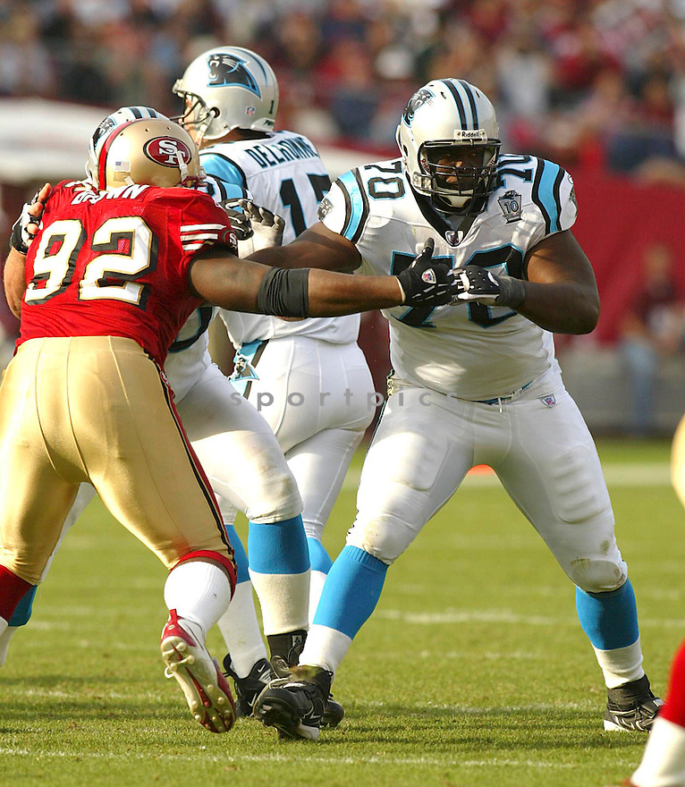 Travelle Wharton during the Carloina Panthers v. San Francisco 49ers game on November 14, 2004...Panthers win 37-27..Rob Holt / SportPics