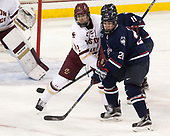 Scott Savage (BC - 2), Brian Morgan (UConn - 28) - The Boston College Eagles defeated the visiting UConn Huskies 2-1 on Tuesday, January 24, 2017, at Kelley Rink in Conte Forum in Chestnut Hill, Massachusetts.