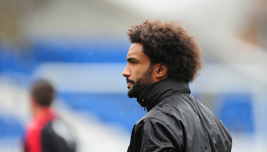 Fleetwood Town&rsquo;s sports scientist Youl Mawene during the pre-match warm-up <br /> <br /> Photographer Chris Vaughan/CameraSport<br /> <br /> Football - The Football League Sky Bet League One - Peterborough United v Fleetwood Town - Saturday 14th November 2015 - ABAX Stadium - Peterborough<br /> <br /> &copy; CameraSport - 43 Linden Ave. Countesthorpe. Leicester. England. LE8 5PG - Tel: +44 (0) 116 277 4147 - admin@camerasport.com - www.camerasport.com