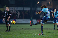 Sido Jombati of Wycombe Wanderers scores his side's first goal during the Sky Bet League 2 match between Newport County and Wycombe Wanderers at Rodney Parade, Newport, Wales on 22 November 2016. Photo by Mark  Hawkins.