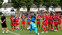Huddersfield Town U23 Manager, Frankie Bunn speaks to his players at the end of the match after suffering a 4-0 defeat at Millwall during Millwall Under-23 vs Huddersfield Town Under-23, Professional Development League Football at Millwall Training Ground on 14th August 2017