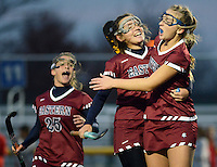 Eastern's Kasey Quicksill (center) and Kara Heck (right) celebrate a goal in the first half of the Tournament of Champions Semifinal against Ocean City Wednesday, November 16, 2016 at West Windsor Plainsboro North in Plainsboro, New Jersey. Eastern beat Ocean City 5-1. (WILLIAM THOMAS CAIN / For The Philadelphia Inquirer)