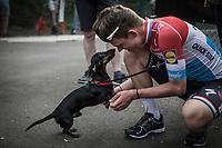 race winner Bob Jungels (LUX/Quick-Step Floors) congratulated by his dog.<br /> <br /> 104th Liège - Bastogne - Liège 2018 (1.UWT)<br /> 1 Day Race: Liège - Ans (258km)