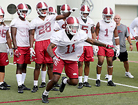 NWA Democrat-Gazette/DAVID GOTTSCHALK   Arkansas Razorback corner back Ryan Pulley runs through  drills Friday, July 28, 2017, during practice on campus in Fayetteville.