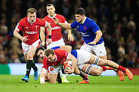 Hadleigh Parkes of Wales is tackled by Charles Ollivon of France during the Guinness Six Nations Championship Round 3 match between Wales and France at the Principality Stadium in Cardiff, Wales, UK. Saturday 22 February 2020